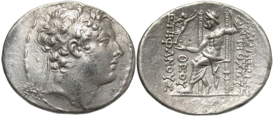 Ancient Coins - SELEUCID KINGS of SYRIA. Antiochos IV Epiphanes. 175-164 BC. AR Tetradrachm (33mm, 16.66 g, 12h). Antioch mint.