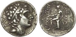 Ancient Coins - SELEUKID EMPIRE. Antiochos III 'the Great'. 222-187 BC. AR Tetradrachm (28mm, 17.03 g, 12h). Antioch on the Orontes mint. Struck circa 204-197 BC. Diademed head right / Apollo Delp