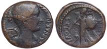 Ancient Coins - JULIUS CAESAR. 45 BC. Æ Dupondius (26mm, 13.65 gm). C. Clovius, praefect. Mediolanum mint?