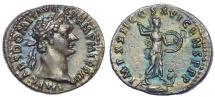 DOMITIAN. 81-96 AD. AR Denarius . Struck 92-93 AD. Exquisite toning.