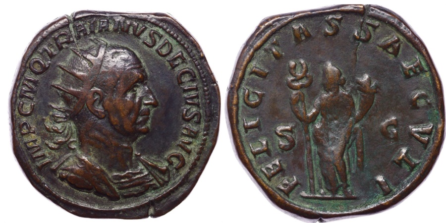 Ancient Coins - Trajan Decius. AD 249-251. Æ Double Sestertius (37mm, 38.44 g, 12h). Rome mint, 4th officina. 3rd emission, early-mid AD 250.