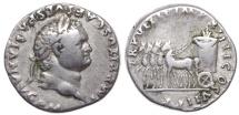 Ancient Coins -  TITUS. 79-81 AD. AR Denarius (17mm, 3.30 g, 5h). Slow Quadriga. Scarce.