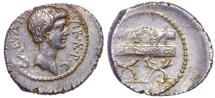 Octavian. 42 BC. AR Denarius (21mm, 3.44 g, 6h). Military Mint in Italy. Toned and lustrous.