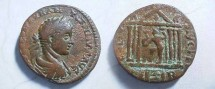 Ancient Coins - Elagabalus AE24 of Berytos, Phoenicia.  COL IVL AVG FEL BER, hexstyle temple with peaked roof, Posiedon within holding dolphin and trident.
