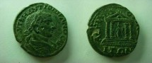 Ancient Coins - Gordian III AE27 of Hadrianopolis, Thrace.  Tetrastyle temple with peaked roof and four steps up to statue of Fortuna within holding rudder & cornucopiae.