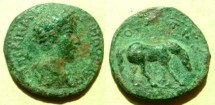 Ancient Coins - Commodus AE24 of Alexadria Troas. COL AVG TROAD, horse grazing right.