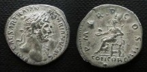 Ancient Coins - Hadrian Denarius.  P M TR P COS III, Concordia seated left, holding patera left.