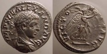 Ancient Coins - Severus Alexander Denarius.Victory running right with palm & wreath.