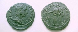 Ancient Coins - Julia Mamaea AE26 of Deultum, Thrace.  COL FL PAC DEVLTUM, Fortuna standing left with rudder & cornucopiae.
