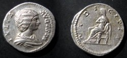 "Ancient Coins - Julia Domna Denarius. IVLIA AVGVSTA, draped bust right / PVDICITIA, Pudicitia (""modesty"" or ""sexual virtue"")"