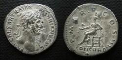 Ancient Coins - Hadrian Denarius.  P M TR P COS III, Concordia seated left, holding patera left.