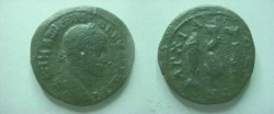 Ancient Coins - Maximinus Thrax AE26 of Anchialus.  Dolphin between two fish.