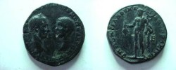 Ancient Coins - Macrinus & Diadumenian Caesar AE27 Pentassarion of Marcianopolis,  217-8 AD.  Hermes standing facing, head left, holding purse & caduceus.