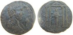 Ancient Coins - Geta AE37 of Mylassa, Caria.Tetrastyle temple.
