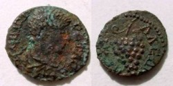 Ancient Coins - Geta AE17 Assarion of Anchialus. Bunch of grapes.