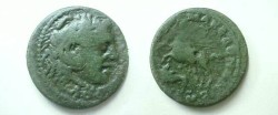 Ancient Coins - Macedonia, under the Romans, AE27.KOINON MAKEDON, Alexander riding his horse Bucephalus