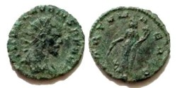 Ancient Coins - Claudius II Gothicus AE Antoninianus. Fortuna standing left, holding rudder and cornucopia, S in ex.