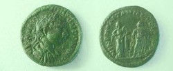 Ancient Coins - Elagabalus AE18 of Nikopolis ad Istrum. Hygeia standing right holding serpent, facing Asklepios standing left leaning on serpent entwined staff.