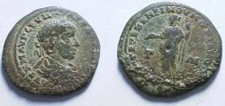 Ancient Coins - Severus Alexander AE26 of Markianopolis.  Hera standing left holding patera & scepter.