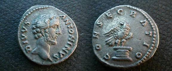 Ancient Coins - Divus Antoninus Pius Denarius.  CONSECRATIO, eagle standing right on altar, head turned left.