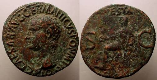 Ancient Coins - Gaius Caligula Æ As. Struck 37-8 AD.Vesta seated left, holding patera and sceptre