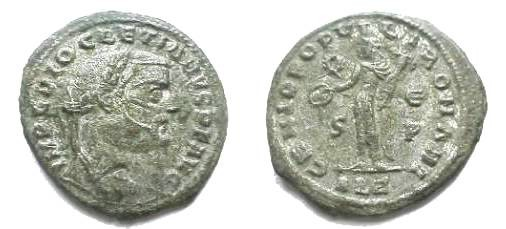 Ancient Coins - Diocletian Silvered AE Follis.  GENIO POPVLI ROMANI, Genius standing left with patera & cornucopiae, wreath-E, S-P in right & left fields, ALE in ex.