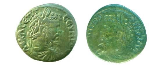 Ancient Coins -  AE27 brockage of a Septimius Severus provincial.
