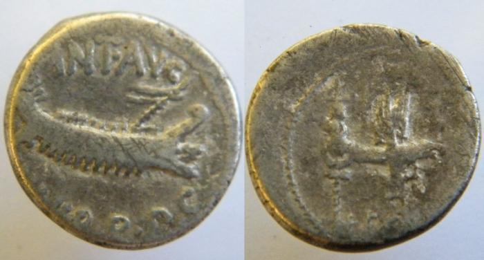 Ancient Coins -  Mark Antony 32-31BC.ARLegionary Denarius. Legio decima Gemina (Tenth Twin Legion)