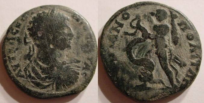 Ancient Coins - THRACE, Hadrianopolis. Geta. 209-212 AD. Æ 28mm .Hercules grasping the Hydra and weilding his club.
