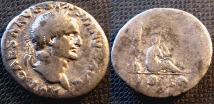 Ancient Coins - Vespasian (A.D. 69-79), Silver Denarius, 2.64g., Rome mint, A.D. 69-70, 'Judea Capta' series