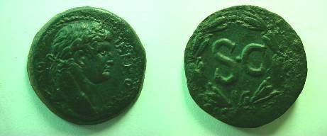 Ancient Coins - SYRIA, Seleukis & Pieria Otho 69 AD Laureate head of Otho right / SC within laurel wreath. Wruck 64.