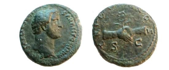 Ancient Coins - Antoninus Pius, as Caesar, Æ As,  138 AD.  TRIB POT COS S-C, two clasped hands holding winged caduceus & corn ears.