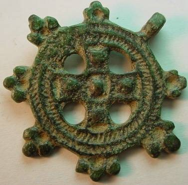 Ancient Coins - LATE ROMAN  PENDANT WITH  INCUSE BEAUTIFUL  CROSS  PATTERN.(
