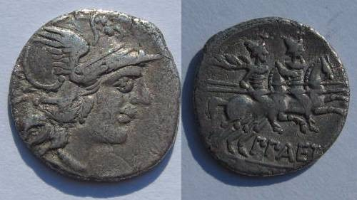 Ancient Coins - P Aelius Paetus Denarius. 138 BC. Helmeted head of Roma facing right / The Dioscuri galloping right