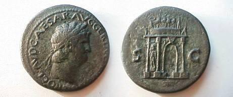 Ancient Coins - Nero Æ Sestertius.  S-C, triumphal arch surmounted by quadriga, statue of Mars between columns.