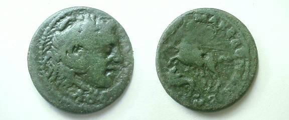 Ancient Coins - Macedonia, under the Romans, AE27.KOINON MAKEDON, Alexander riding his horse Bucephalus