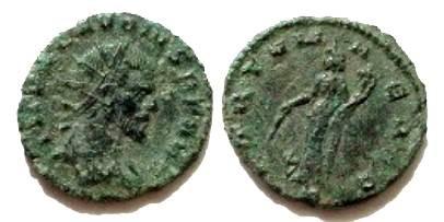 Ancient Coins - Claudius II Gothicus AE Antoninianus. Fortuna standing left, holding rudder and cornucopia, S in ex.