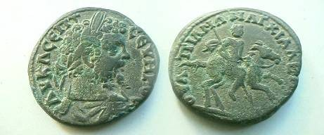 Ancient Coins - Septimius Severus AE27 of Anchialus,  Thrace.  The emperor on horse leaping right, holding spear.