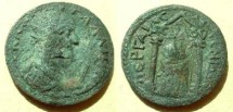 """Ancient Coins - Gallienus  Æ 28 10-assaria of Pamphylia, Perga.  Artemis Pergaia within distyle temple, ACV<font face=""""SYMBOL"""">L</font>OV on archetrave, flanked by two torches."""