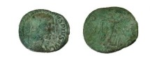 Ancient Coins - Maximinus Æ Sestertius.  VICTORIA AVG S-C, Victory advancing right with wreath.
