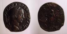 Ancient Coins -      SEVERUS ALEXANDER. 222-235 AD.SPES PVBLICA S-C .Spes walking left, holding flower