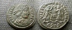 Ancient Coins - Constantius II AE3. 347-8 AD.two victories facing each other .EF with Beautiful green patina!!!