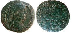 Ancient Coins - Caracalla AE29 of Philippolpolis. City view of Philippolis; on a hill with trees, a statue of Apollo on a column at the base, & three temples at the summit.