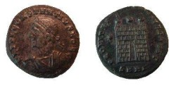 Ancient Coins - Constantius II AE3.  PROVIDEN-TIAE CAESS, Camp gate with two turrets, no doors; above, star; SMHA in ex.