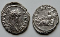Ancient Coins - Septimius Severus Denarius.  AFRICA, Africa, wearing elephant-skin head-dress, reclining left with scorpion & cornucopiae; basket of corn-ears before