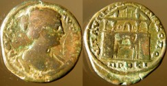 Ancient Coins -   Plautilla, AE27 of Nicopolis ad Istrum. City gate  with two buttresses,door open,suroundet by four columns with tree gambled foofs,sheld and spear in pediment.