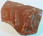 Ancient Coins - Roman redware pottery fragment from Gaul with part of a gladiatorial scene. 60mm.