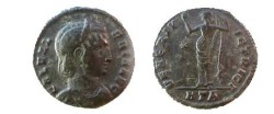 Ancient Coins - Galeria Valeria Æ Follis.  VENERI VICTRICI, Venus standing facing, head left, holding apple upwards and raising drapery, star left, HTA in ex.