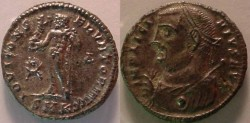 Ancient Coins - Licinius I AE Follis.  IOVI CONS-ERVATORI AVGG, Jupiter standing left with Victory on a globe & scepter, wreath left, A right, SMK in ex.