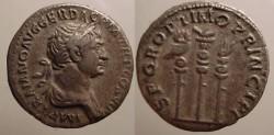 Ancient Coins - Trajan AR Denarius.Aquila between vexillum & legion standard.